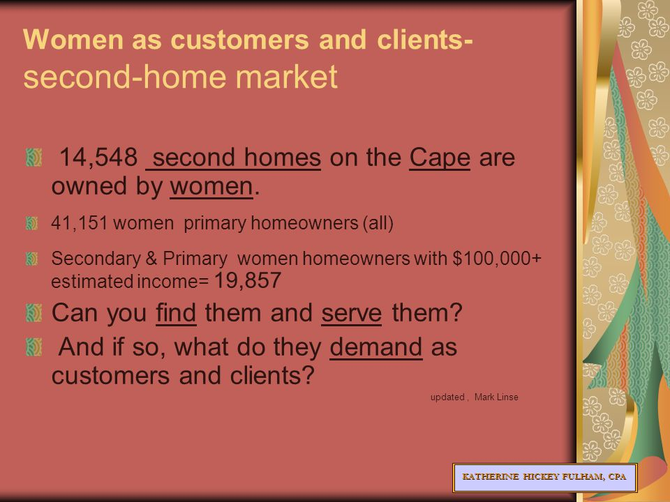 KATHERINE HICKEY FULHAM, CPA Women as customers and clients- second-home market 14,548 second homes on the Cape are owned by women.