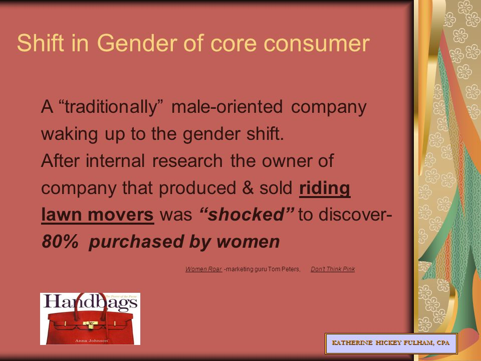 KATHERINE HICKEY FULHAM, CPA Shift in Gender of core consumer A traditionally male-oriented company waking up to the gender shift.