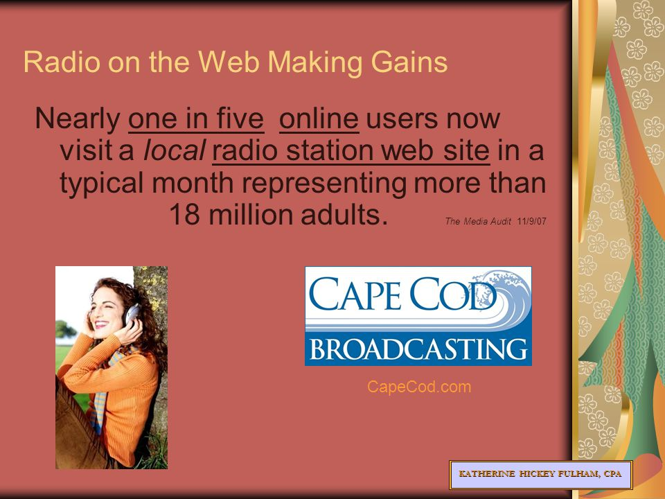 KATHERINE HICKEY FULHAM, CPA Radio on the Web Making Gains Nearly one in five online users now visit a local radio station web site in a typical month representing more than 18 million adults.