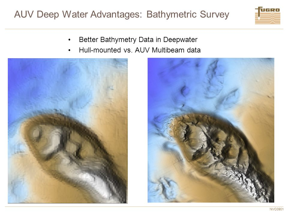 NVC0901 AUV Deep Water Advantages: Bathymetric Survey Better Bathymetry Data in Deepwater Hull-mounted vs. AUV Multibeam data