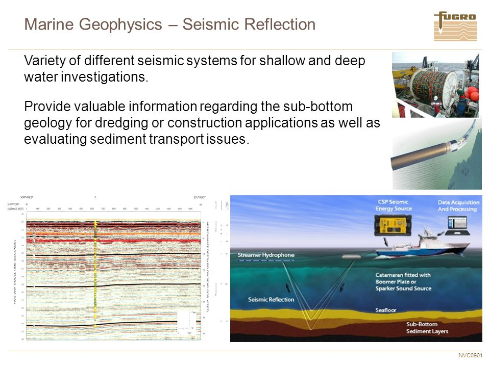 NVC0901 Variety of different seismic systems for shallow and deep water investigations. Provide valuable information regarding the sub-bottom geology