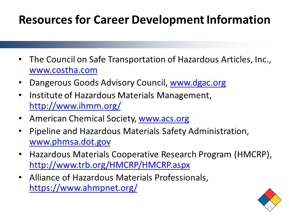 Resources for Career Development Information The Council on Safe Transportation of Hazardous Articles, Inc., www.costha.com www.costha.com Dangerous Goods Advisory Council, www.dgac.orgwww.dgac.org Institute of Hazardous Materials Management, http://www.ihmm.org/ http://www.ihmm.org/ American Chemical Society, www.acs.orgwww.acs.org Pipeline and Hazardous Materials Safety Administration, www.phmsa.dot.gov www.phmsa.dot.gov Hazardous Materials Cooperative Research Program (HMCRP), http://www.trb.org/HMCRP/HMCRP.aspx http://www.trb.org/HMCRP/HMCRP.aspx Alliance of Hazardous Materials Professionals, https://www.ahmpnet.org/ https://www.ahmpnet.org/ 25