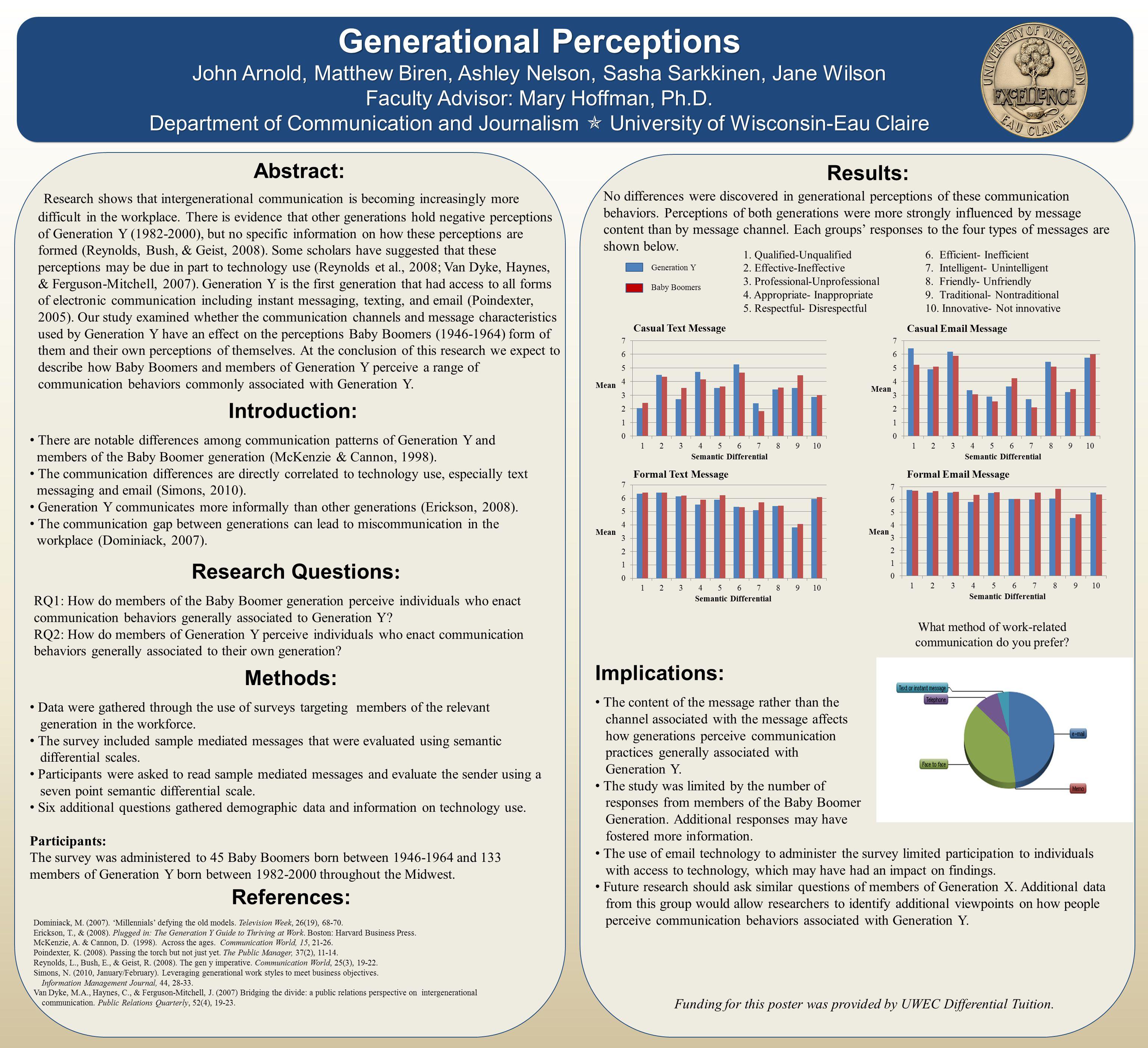 Generational Perceptions John Arnold, Matthew Biren, Ashley Nelson, Sasha Sarkkinen, Jane Wilson Faculty Advisor: Mary Hoffman, Ph.D.