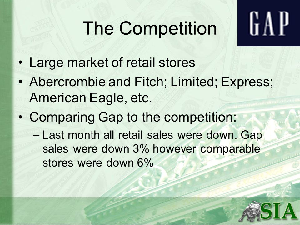 The Competition Large market of retail stores Abercrombie and Fitch; Limited; Express; American Eagle, etc.
