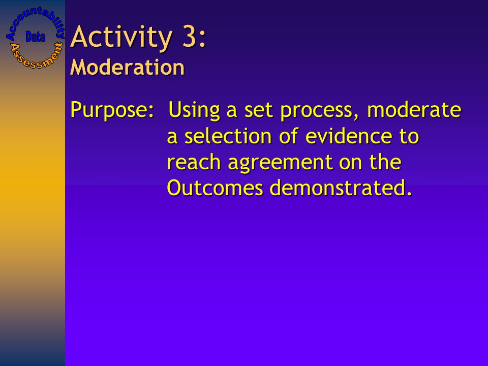 Activity 3: Moderation Purpose: Using a set process, moderate a selection of evidence to reach agreement on the Outcomes demonstrated.
