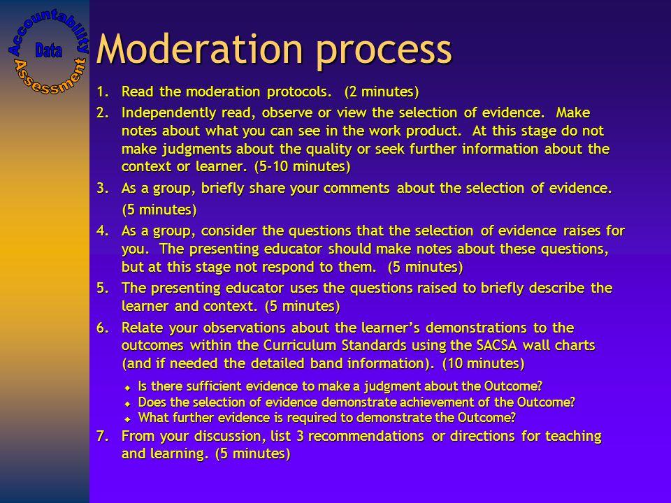 Moderation process 1.Read the moderation protocols.