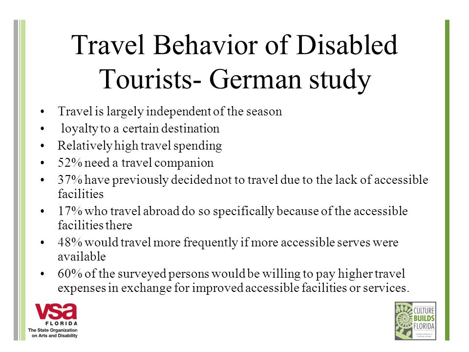 Travel Behavior of Disabled Tourists- German study Travel is largely independent of the season loyalty to a certain destination Relatively high travel