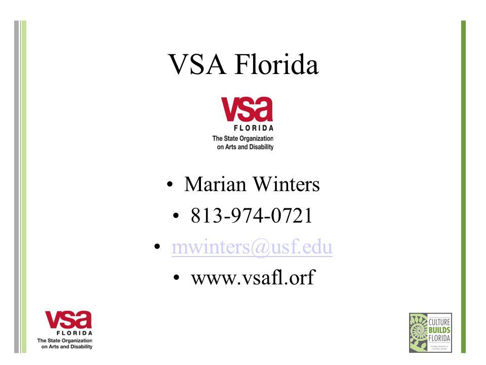 VSA Florida Marian Winters 813-974-0721 mwinters@usf.edu www.vsafl.orf