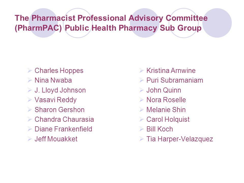 The Pharmacist Professional Advisory Committee (PharmPAC) Public Health Pharmacy Sub Group  Charles Hoppes  Nina Nwaba  J. Lloyd Johnson  Vasavi R