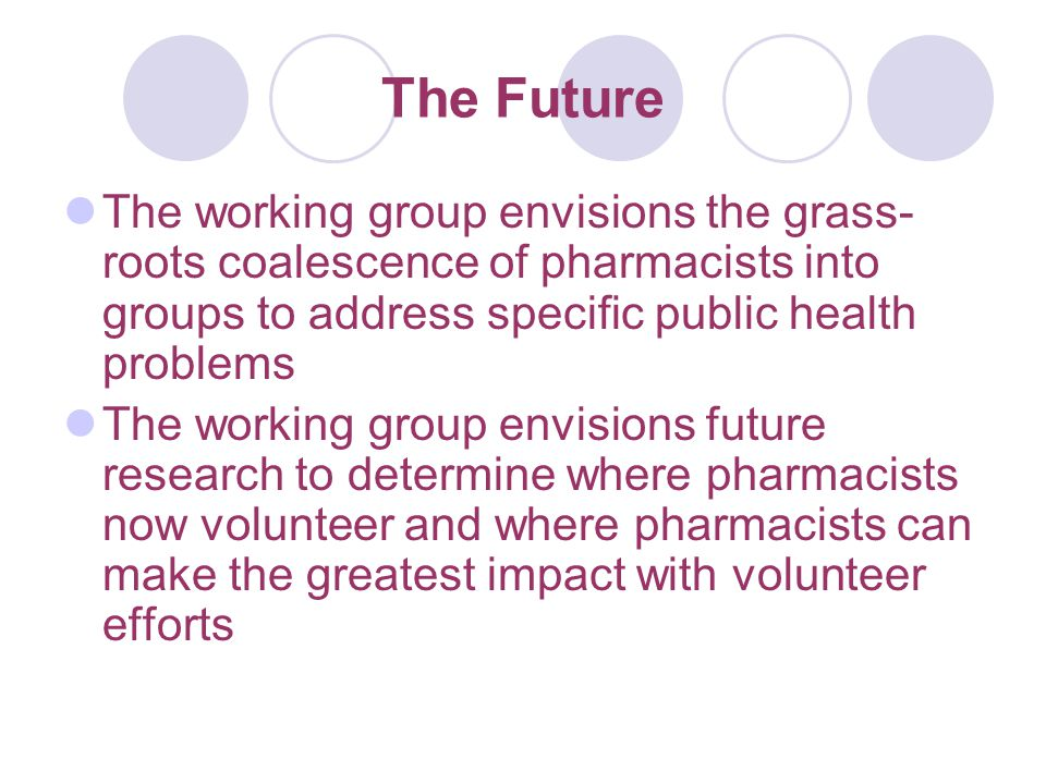 The Future The working group envisions the grass- roots coalescence of pharmacists into groups to address specific public health problems The working group envisions future research to determine where pharmacists now volunteer and where pharmacists can make the greatest impact with volunteer efforts