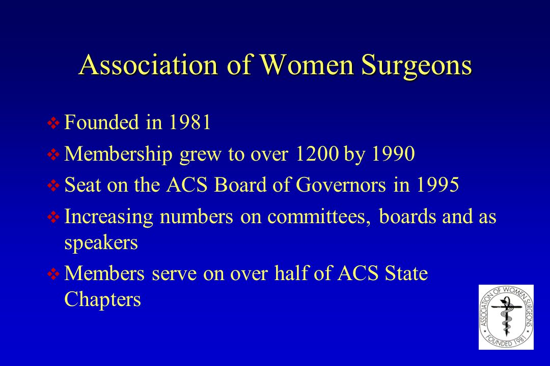 Association of Women Surgeons v Founded in 1981 v Membership grew to over 1200 by 1990 v Seat on the ACS Board of Governors in 1995 v Increasing numbe