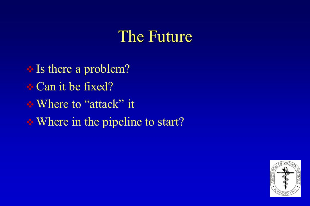 "The Future v Is there a problem? v Can it be fixed? v Where to ""attack"" it v Where in the pipeline to start?"