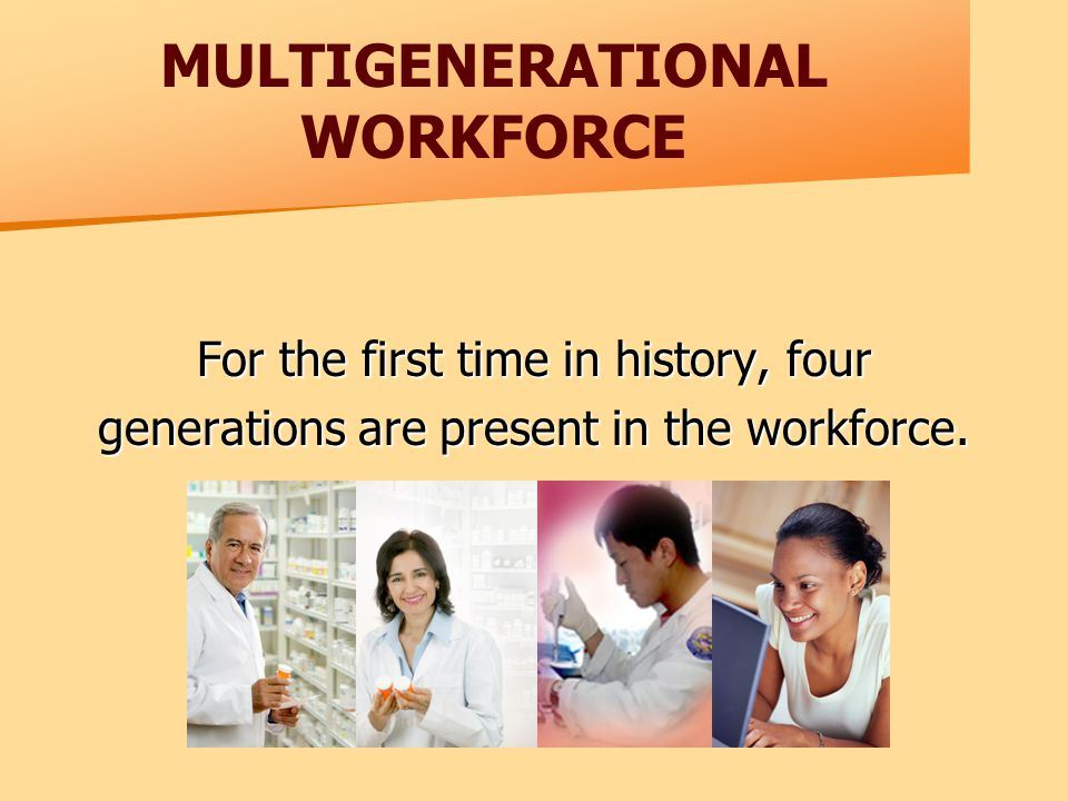 MULTIGENERATIONAL WORKFORCE For the first time in history, four generations are present in the workforce.
