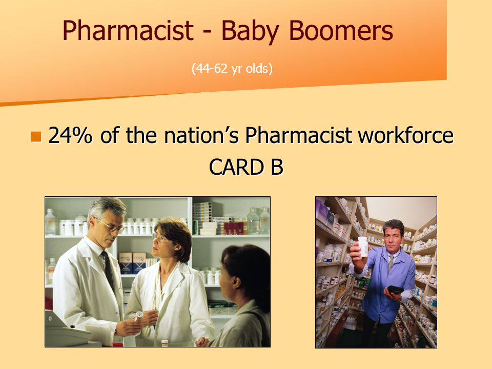 Pharmacist - Baby Boomers (44-62 yr olds) 24% of the nation's Pharmacist workforce 24% of the nation's Pharmacist workforce CARD B