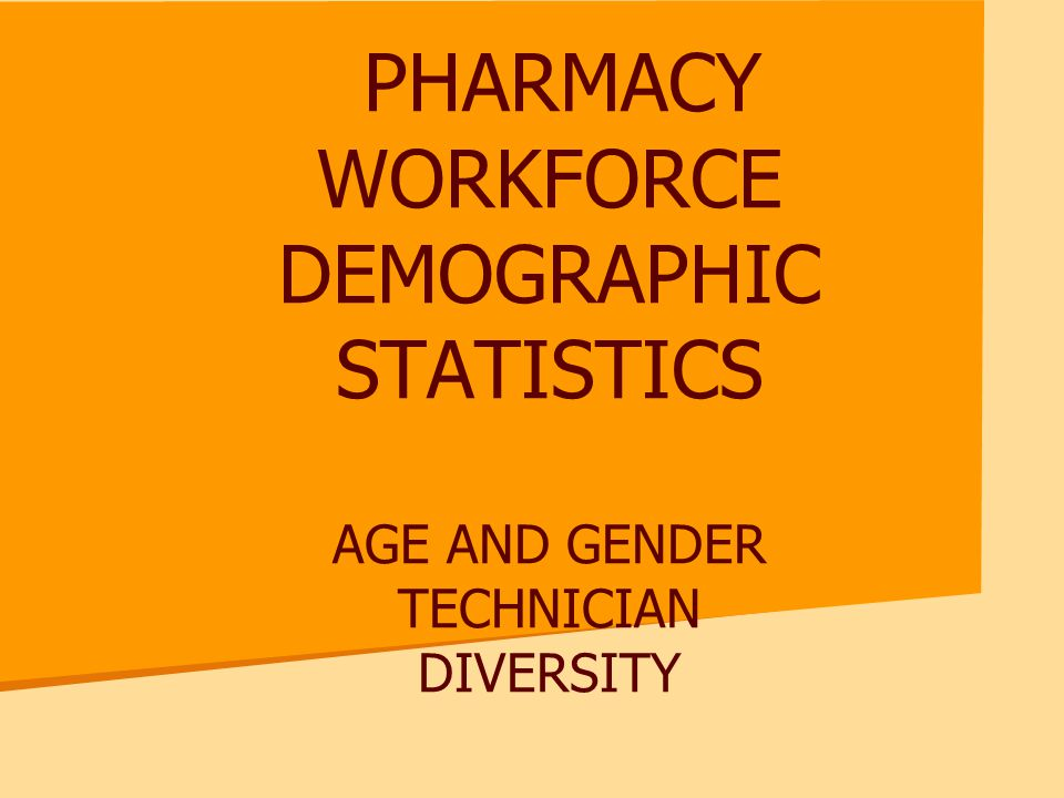 PHARMACY WORKFORCE DEMOGRAPHIC STATISTICS AGE AND GENDER TECHNICIAN DIVERSITY