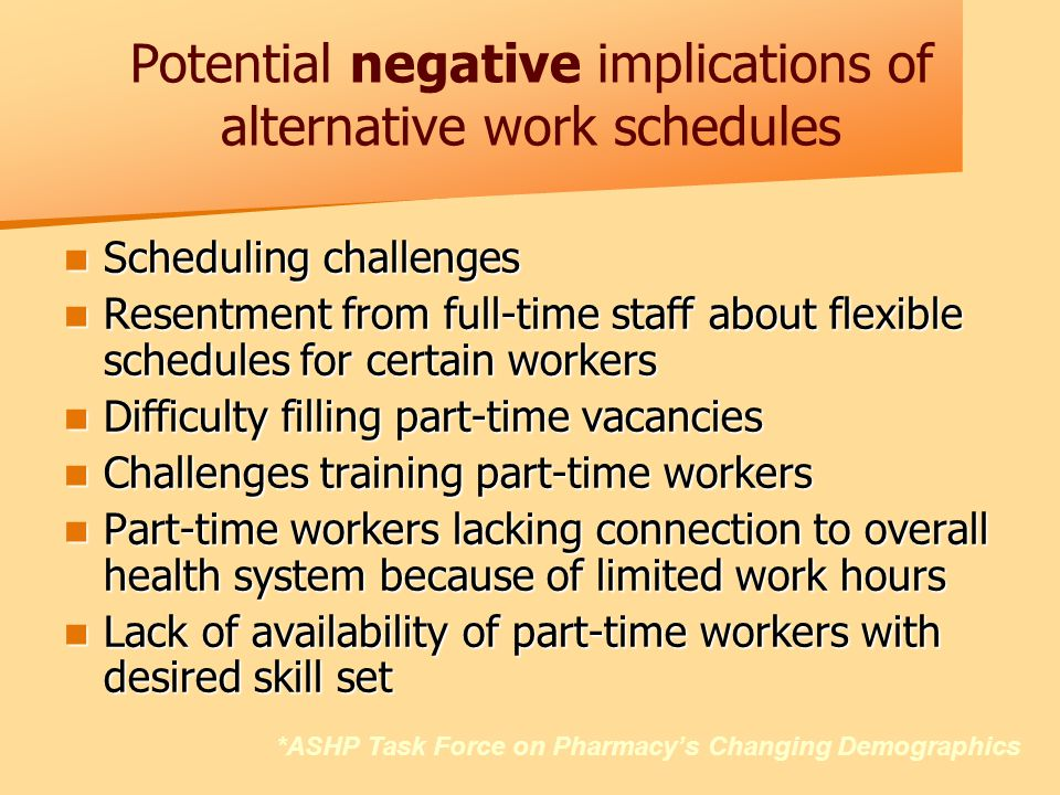 Potential negative implications of alternative work schedules Scheduling challenges Scheduling challenges Resentment from full-time staff about flexible schedules for certain workers Resentment from full-time staff about flexible schedules for certain workers Difficulty filling part-time vacancies Difficulty filling part-time vacancies Challenges training part-time workers Challenges training part-time workers Part-time workers lacking connection to overall health system because of limited work hours Part-time workers lacking connection to overall health system because of limited work hours Lack of availability of part-time workers with desired skill set Lack of availability of part-time workers with desired skill set *ASHP Task Force on Pharmacy's Changing Demographics
