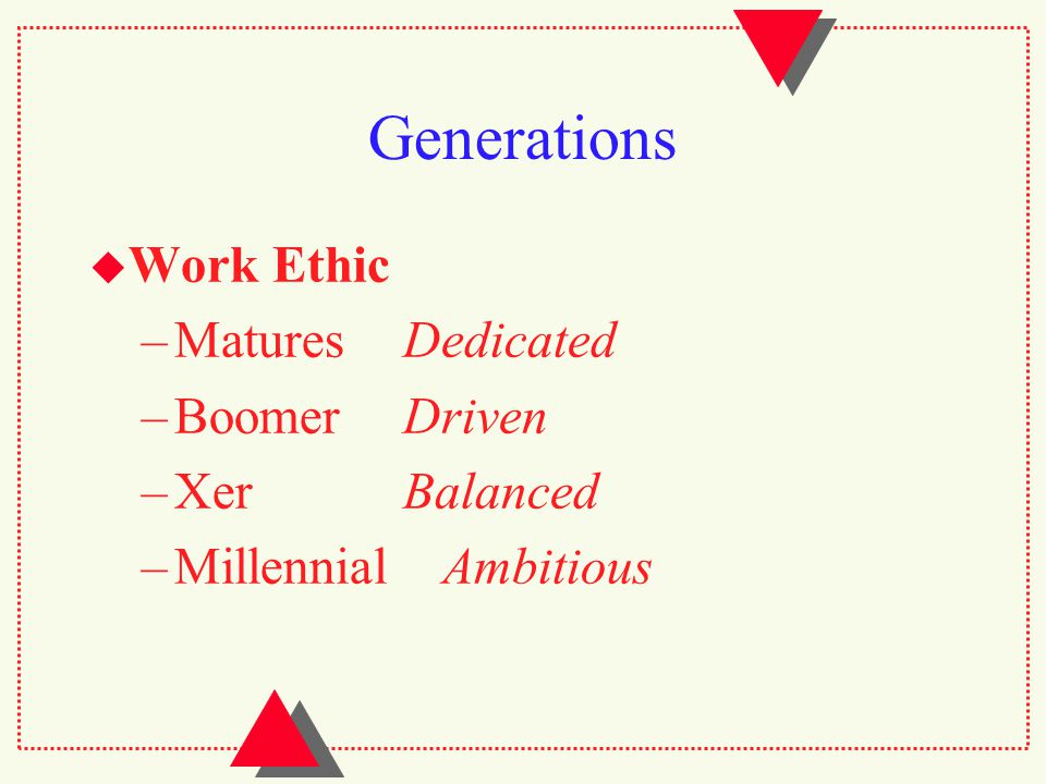 Generations  Work Ethic –MaturesDedicated –BoomerDriven –XerBalanced –Millennial Ambitious