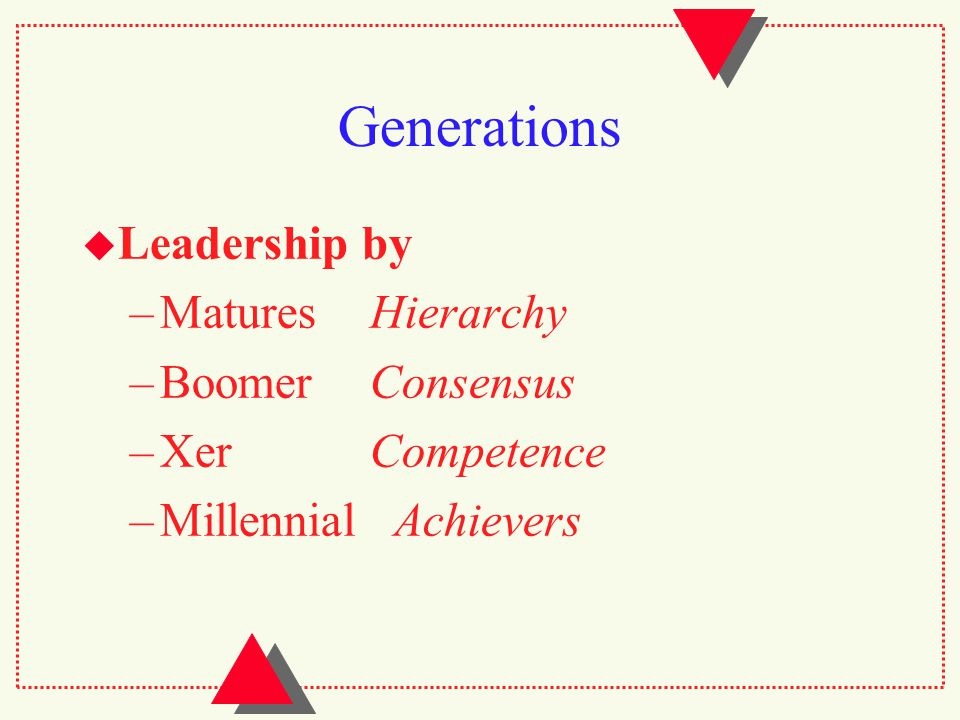 Generations  Leadership by –MaturesHierarchy –BoomerConsensus –XerCompetence –Millennial Achievers