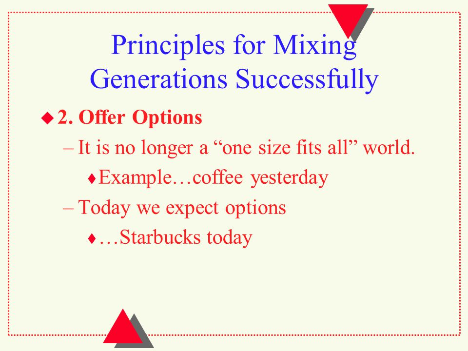 Principles for Mixing Generations Successfully  2.