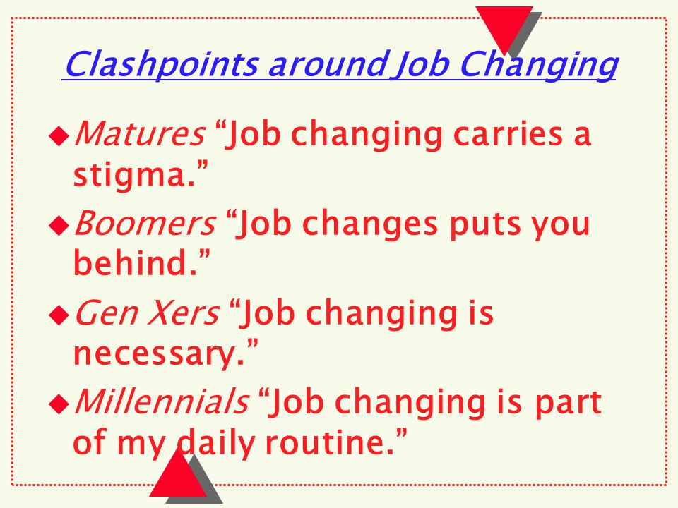 Clashpoints around Job Changing  Matures Job changing carries a stigma.  Boomers Job changes puts you behind.  Gen Xers Job changing is necessary.  Millennials Job changing is part of my daily routine.