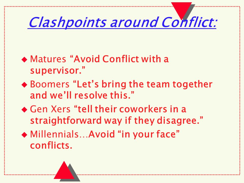 Clashpoints around Conflict:  Matures Avoid Conflict with a supervisor.  Boomers Let's bring the team together and we'll resolve this.  Gen Xers tell their coworkers in a straightforward way if they disagree.  Millennials…Avoid in your face conflicts.