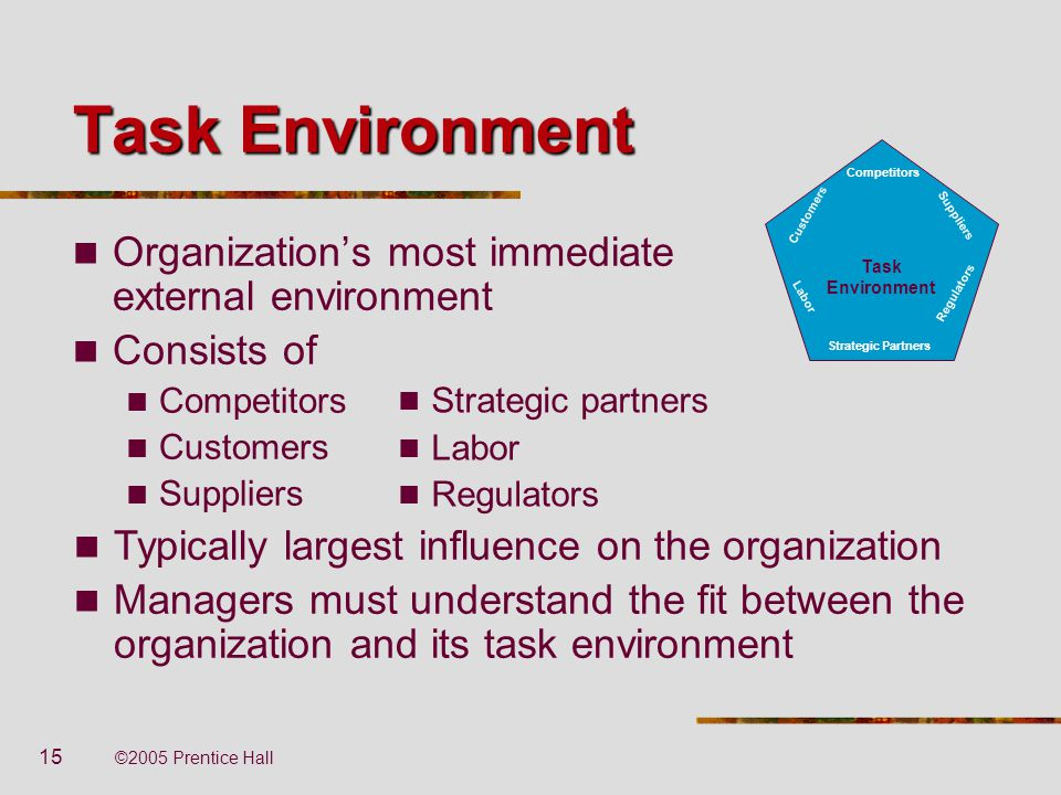 15 ©2005 Prentice Hall Task Environment Organization's most immediate external environment Consists of Competitors Customers Suppliers Task Environmen
