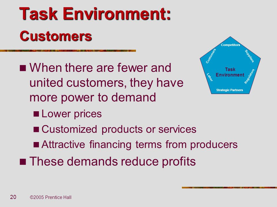 20 ©2005 Prentice Hall Task Environment: When there are fewer and united customers, they have more power to demand Lower prices Customized products or