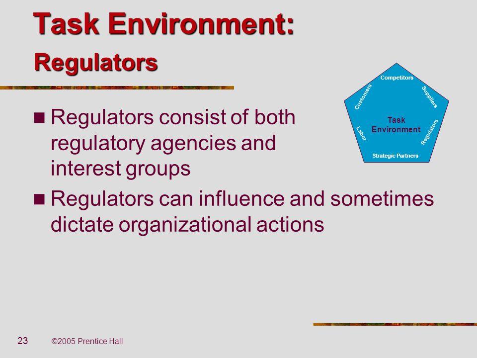 23 ©2005 Prentice Hall Task Environment: Regulators consist of both regulatory agencies and interest groups Regulators can influence and sometimes dic
