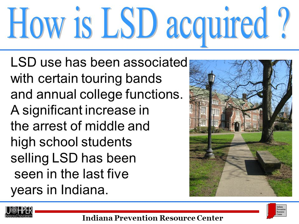 Indiana Prevention Resource Center LSD use has been associated with certain touring bands and annual college functions.
