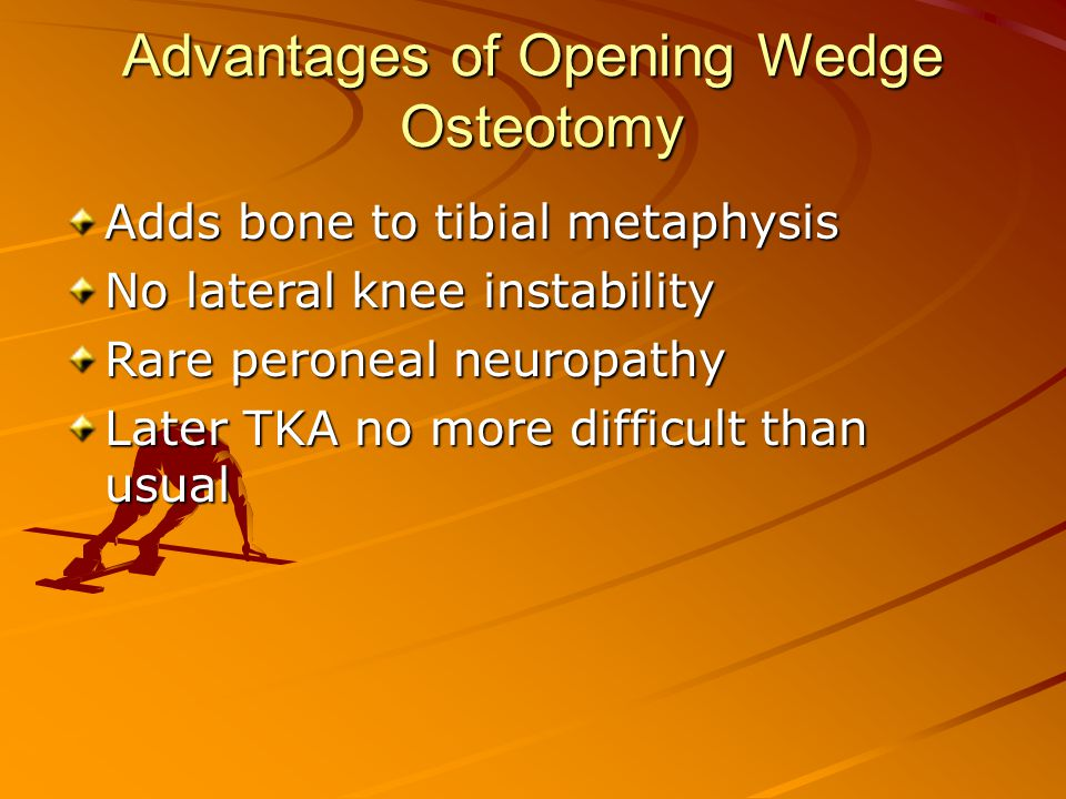 Advantages of Opening Wedge Osteotomy Adds bone to tibial metaphysis No lateral knee instability Rare peroneal neuropathy Later TKA no more difficult than usual