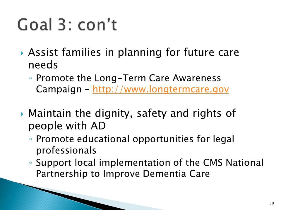  Assist families in planning for future care needs ◦ Promote the Long-Term Care Awareness Campaign – http://www.longtermcare.govhttp://www.longtermca
