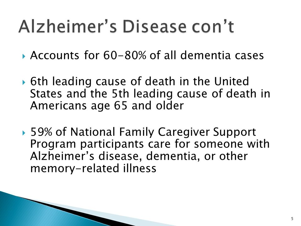  Accounts for 60-80% of all dementia cases  6th leading cause of death in the United States and the 5th leading cause of death in Americans age 65 a