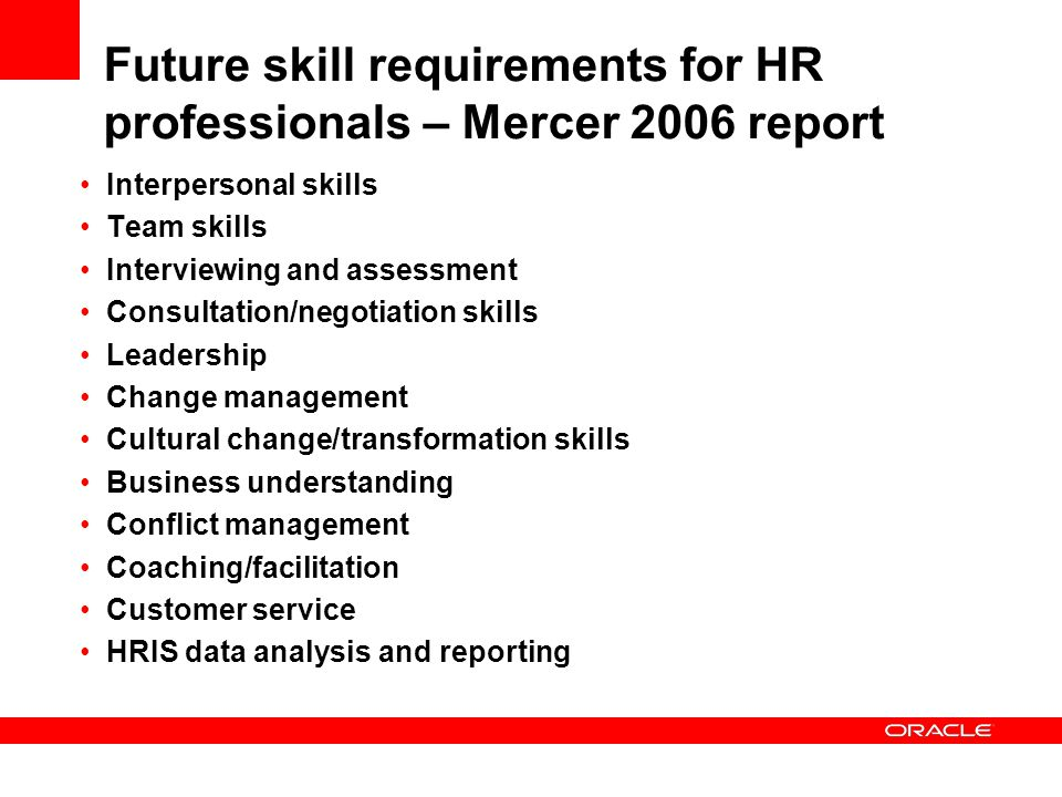 Future skill requirements for HR professionals – Mercer 2006 report Interpersonal skills Team skills Interviewing and assessment Consultation/negotiat