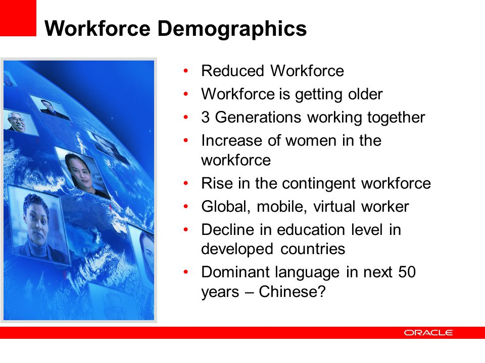 Workforce Demographics Reduced Workforce Workforce is getting older 3 Generations working together Increase of women in the workforce Rise in the cont