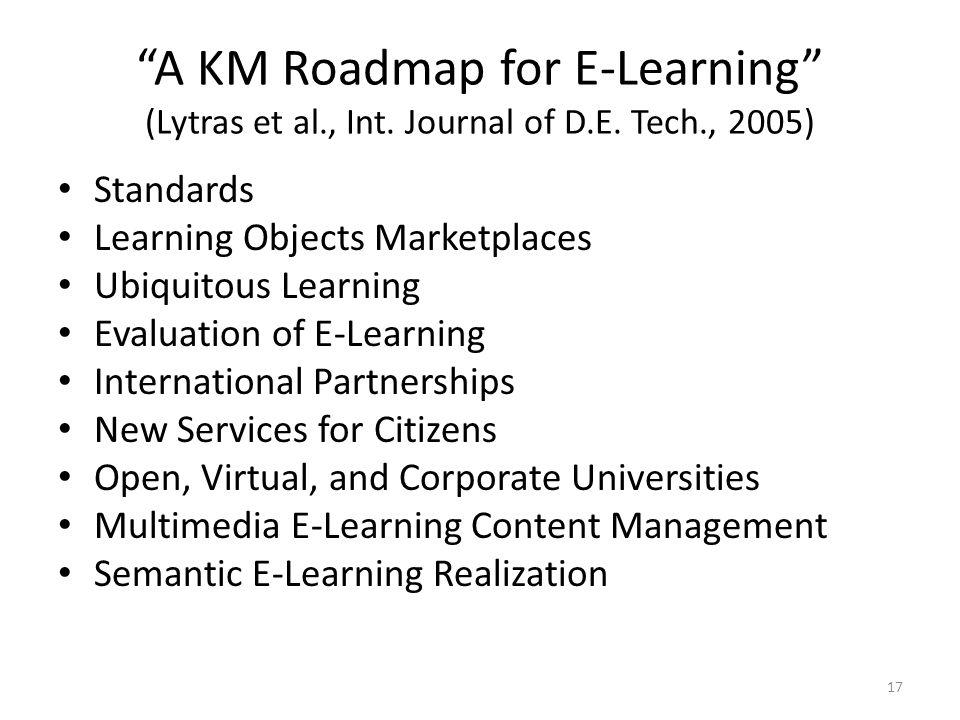 A KM Roadmap for E-Learning (Lytras et al., Int.