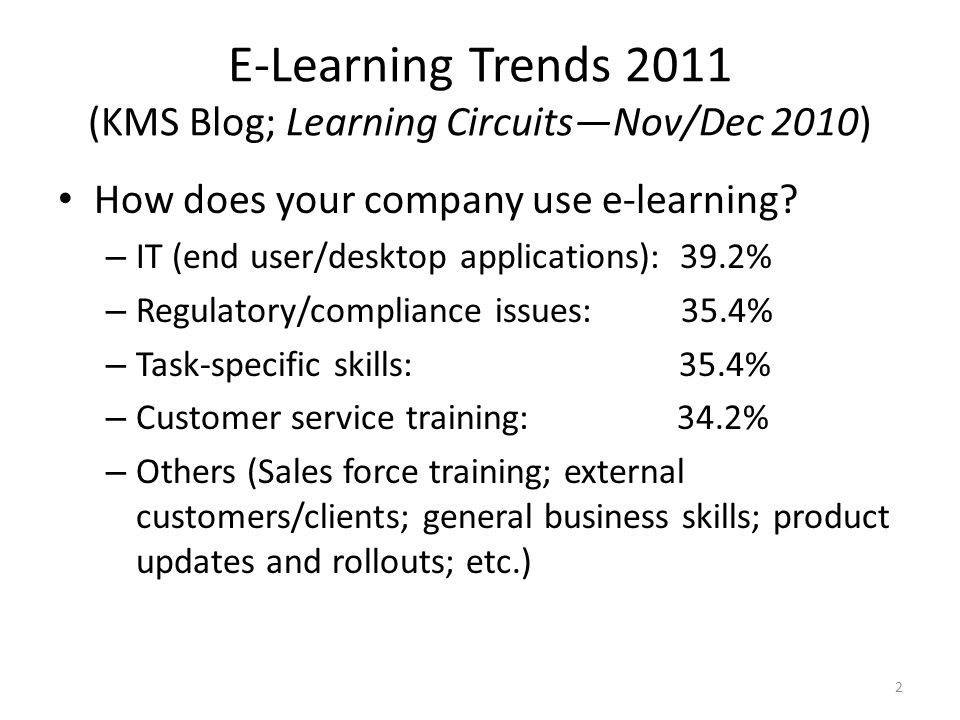 E-Learning Trends 2011 (KMS Blog; Learning Circuits—Nov/Dec 2010) How does your company use e-learning.