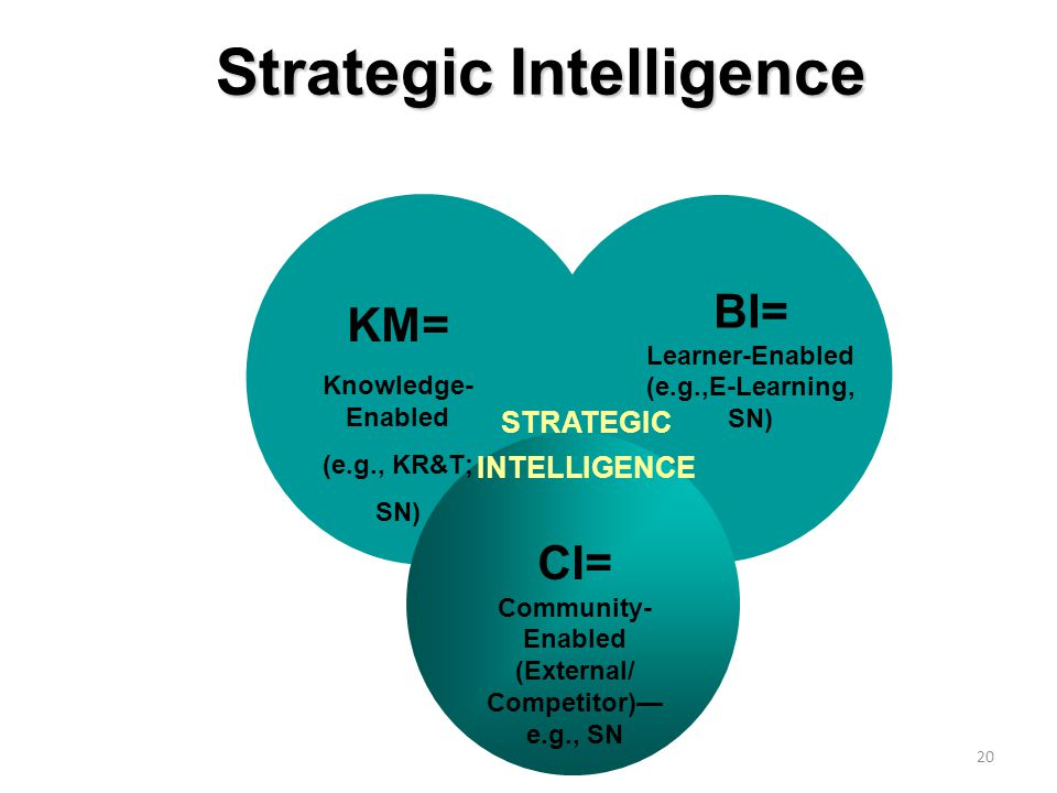 20 Strategic Intelligence STRATEGIC INTELLIGENCE KM= Knowledge- Enabled (e.g., KR&T; SN) BI= Learner-Enabled (e.g.,E-Learning, SN) CI= Community- Enabled (External/ Competitor)— e.g., SN