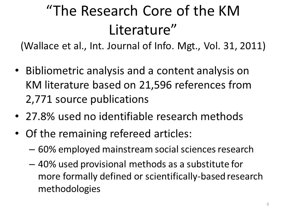 The Research Core of the KM Literature (Wallace et al., Int.