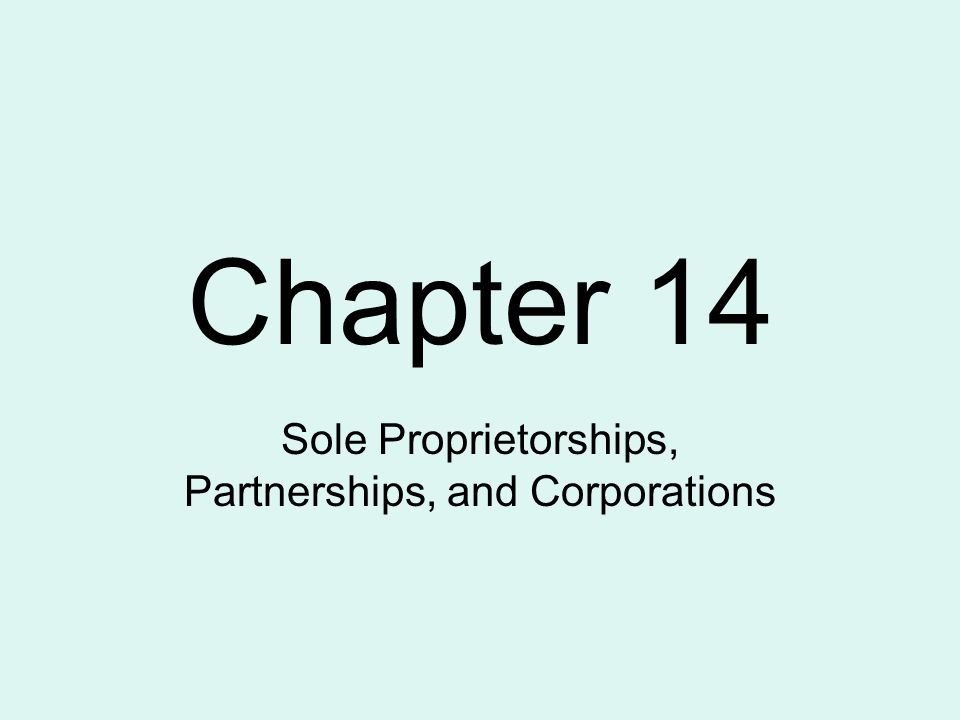 Chapter 14 Sole Proprietorships, Partnerships, and Corporations