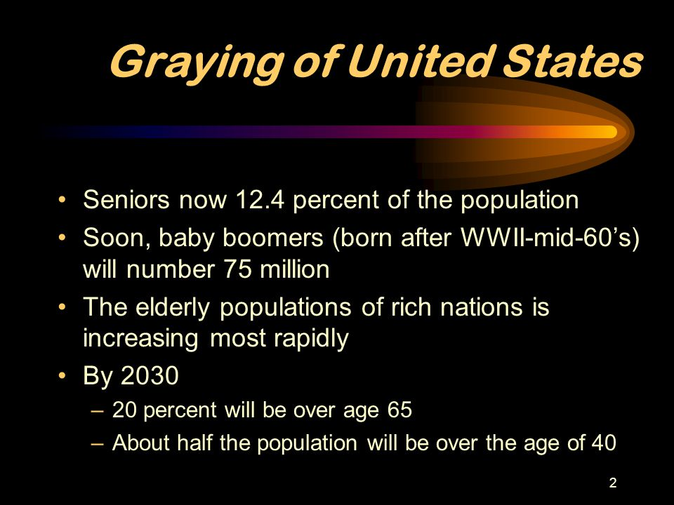 3 Aging Population Increase Birth rate: going down –Decreased infant mortality –Children are a major expense –Advances in birth control Life expectancy: going up –Improved housing, nutrition and increased wealth Baby Boomer reaching old age –Medical advances –Almost eliminated infectious diseases –Treat cancer and heart disease