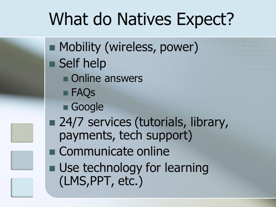 What do Natives Expect? Mobility (wireless, power) Self help Online answers FAQs Google 24/7 services (tutorials, library, payments, tech support) Com