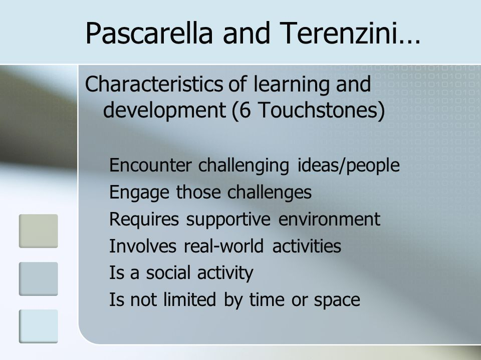 Pascarella and Terenzini… Characteristics of learning and development (6 Touchstones) Encounter challenging ideas/people Engage those challenges Requi