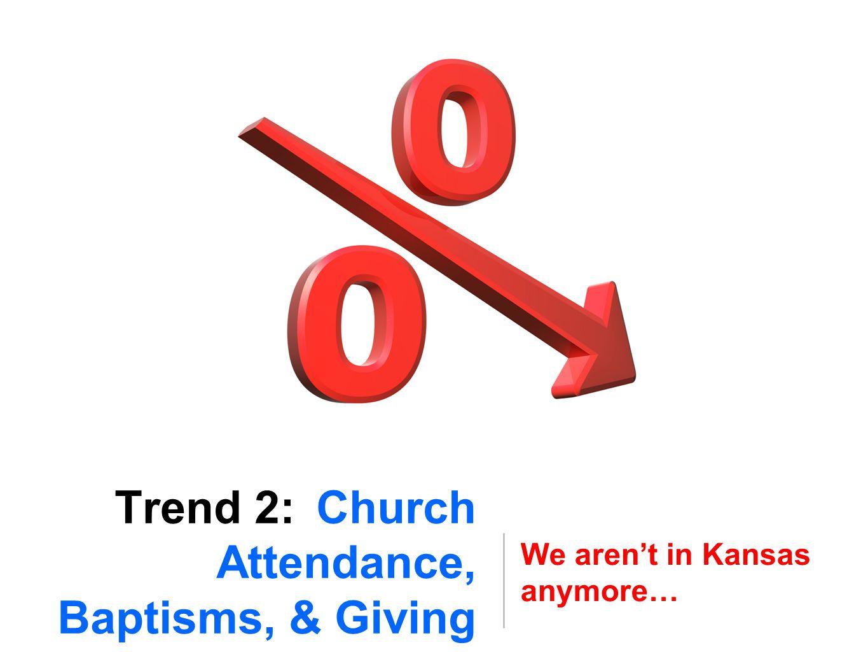 Trend 2: Church Attendance, Baptisms, & Giving We aren't in Kansas anymore…