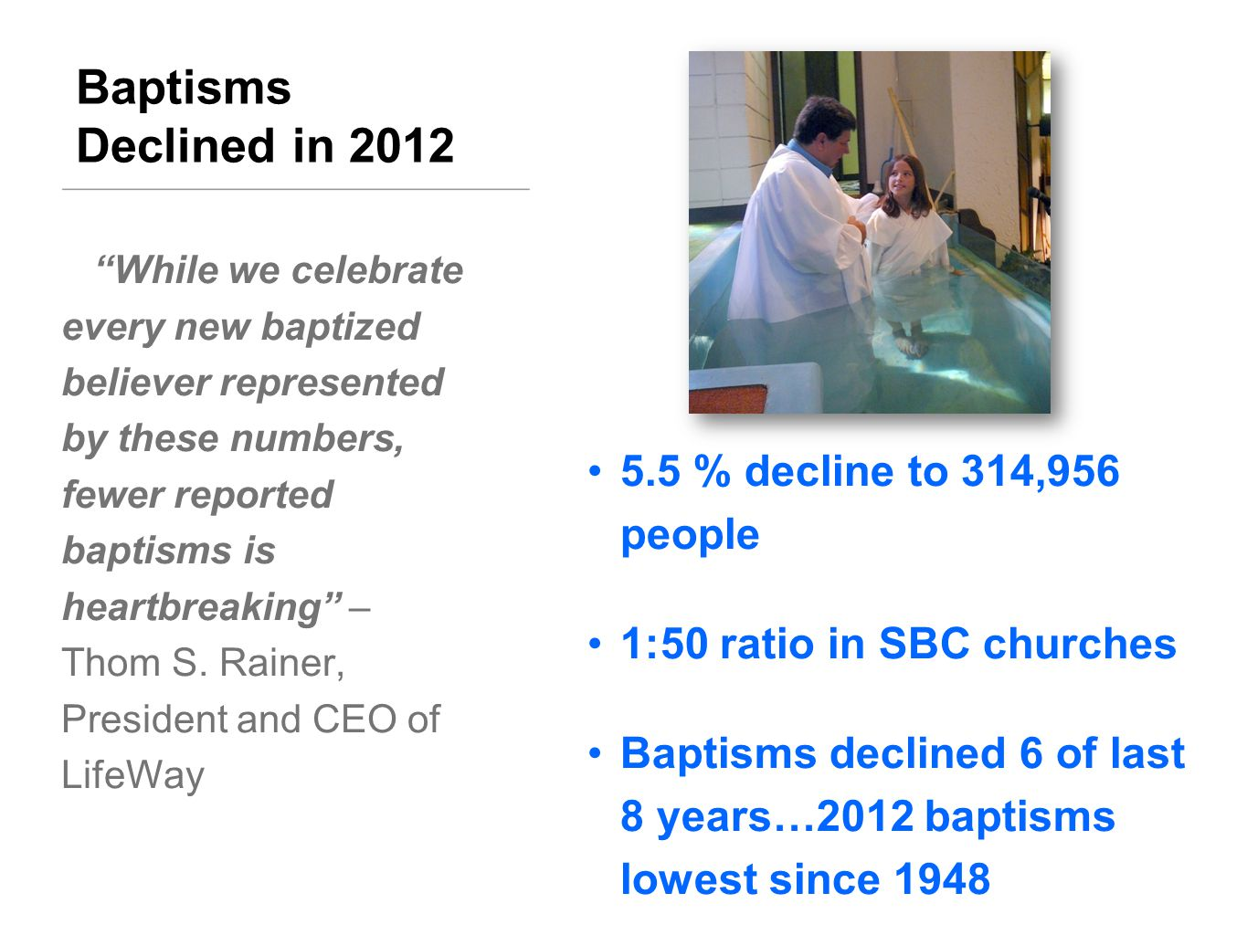 Baptisms Declined in 2012 5.5 % decline to 314,956 people 1:50 ratio in SBC churches Baptisms declined 6 of last 8 years…2012 baptisms lowest since 1948 While we celebrate every new baptized believer represented by these numbers, fewer reported baptisms is heartbreaking – Thom S.