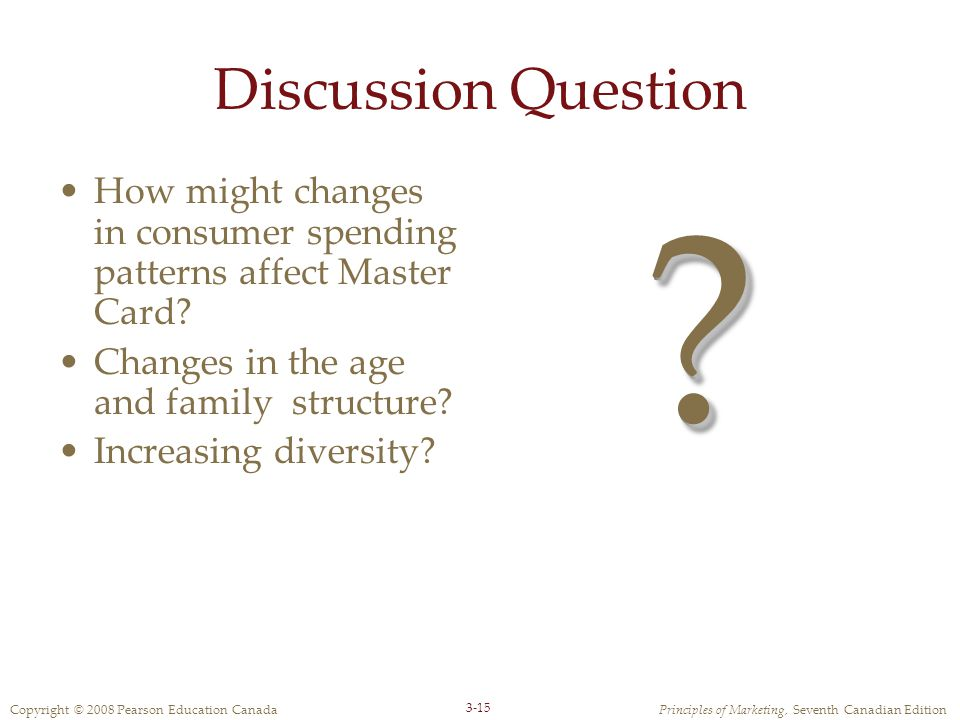 Copyright © 2008 Pearson Education CanadaPrinciples of Marketing, Seventh Canadian Edition 3-15 Discussion Question How might changes in consumer spending patterns affect Master Card.