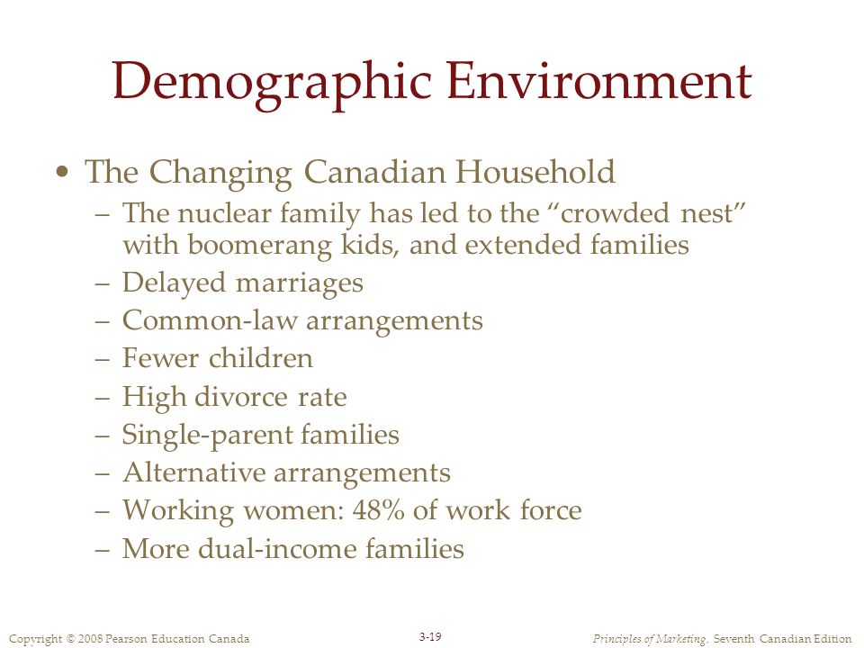 Copyright © 2008 Pearson Education CanadaPrinciples of Marketing, Seventh Canadian Edition 3-19 Demographic Environment The Changing Canadian Househol