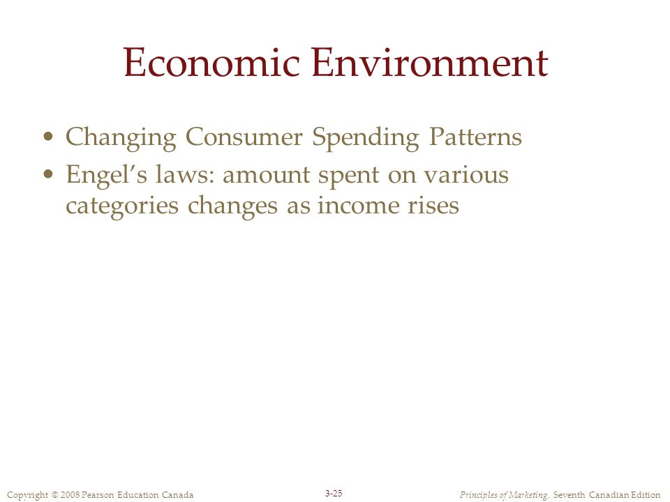 Copyright © 2008 Pearson Education CanadaPrinciples of Marketing, Seventh Canadian Edition 3-25 Economic Environment Changing Consumer Spending Patterns Engel's laws: amount spent on various categories changes as income rises