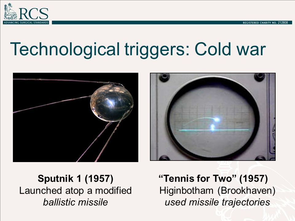 Technological triggers: Cold war Tennis for Two (1957) Higinbotham (Brookhaven) used missile trajectories Sputnik 1 (1957) Launched atop a modified ballistic missile