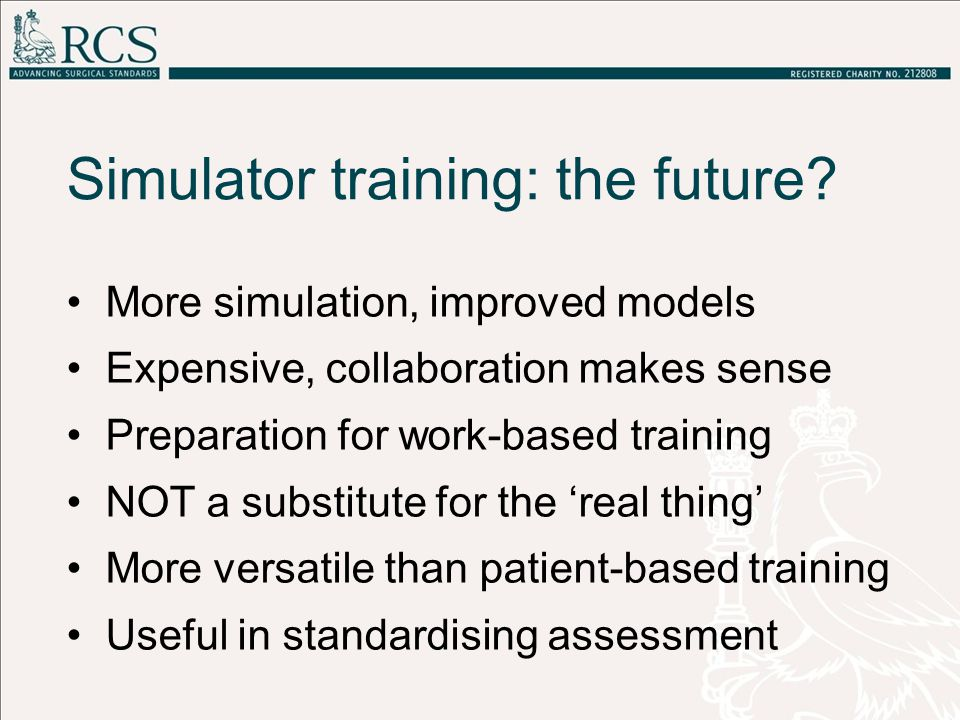 Simulator training: the future.