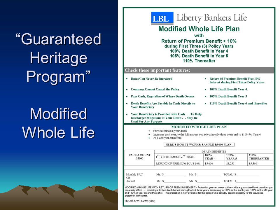 """Guaranteed Heritage Program"" Modified Whole Life"